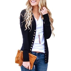 Sweaters - Long Sleeve Cardigan Sweater Button Down Knit